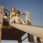 Students on the slide