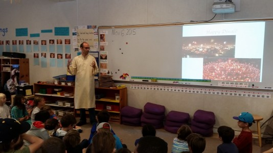 First and Fourth Graders learn about Diwali through a parent led presentation followed by a celebration.