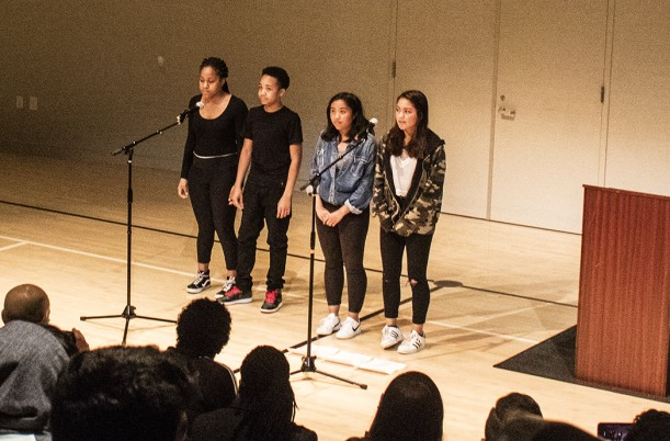 Middle School students lead our Black History Month Celebration.
