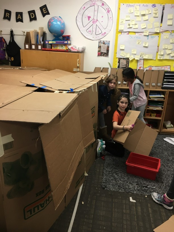 2nd Grade build forts in the classroom.